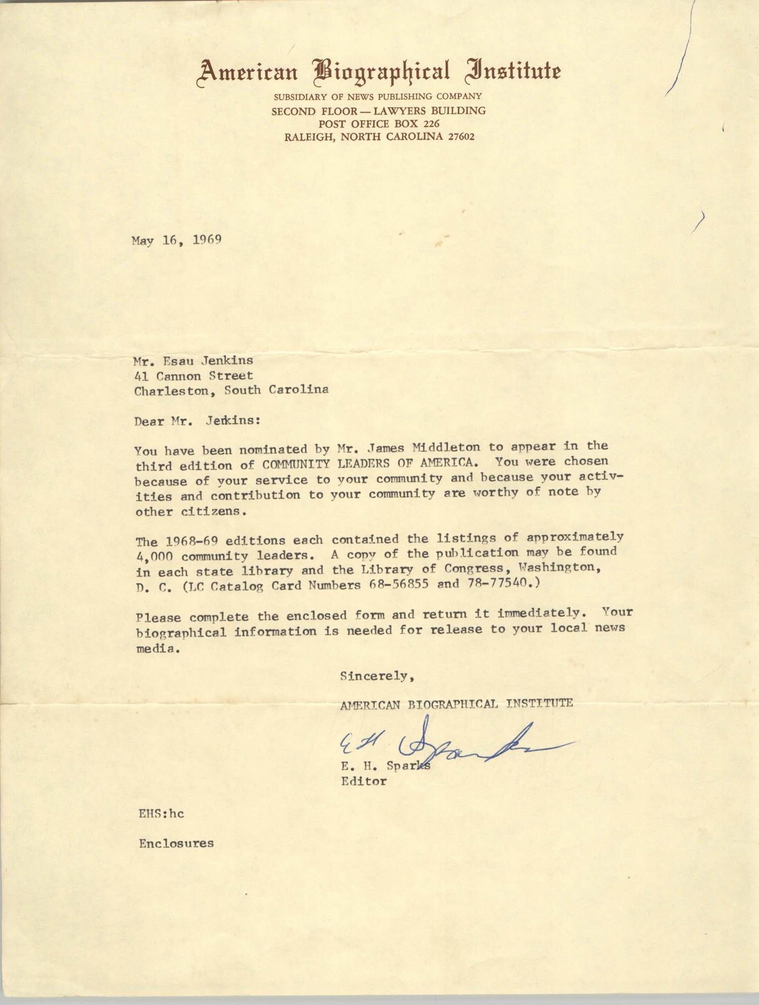 Letter from E. H. Sparks to Esau Jenkins, May 16, 1969