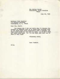 Letter from Esau Jenkins to National Folk Festival, July 25, 1969