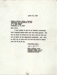 Letter from Esau Jenkins to Belser, Belser, Baker and Barwick, April 19, 1972