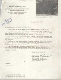 Letter from Willis Goodwin to Friends of Rural Mission, Inc., November 15, 1972