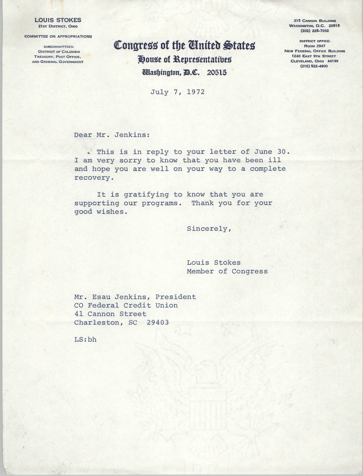Letter from Louis Stokes to Esau Jenkins, July 7, 1972