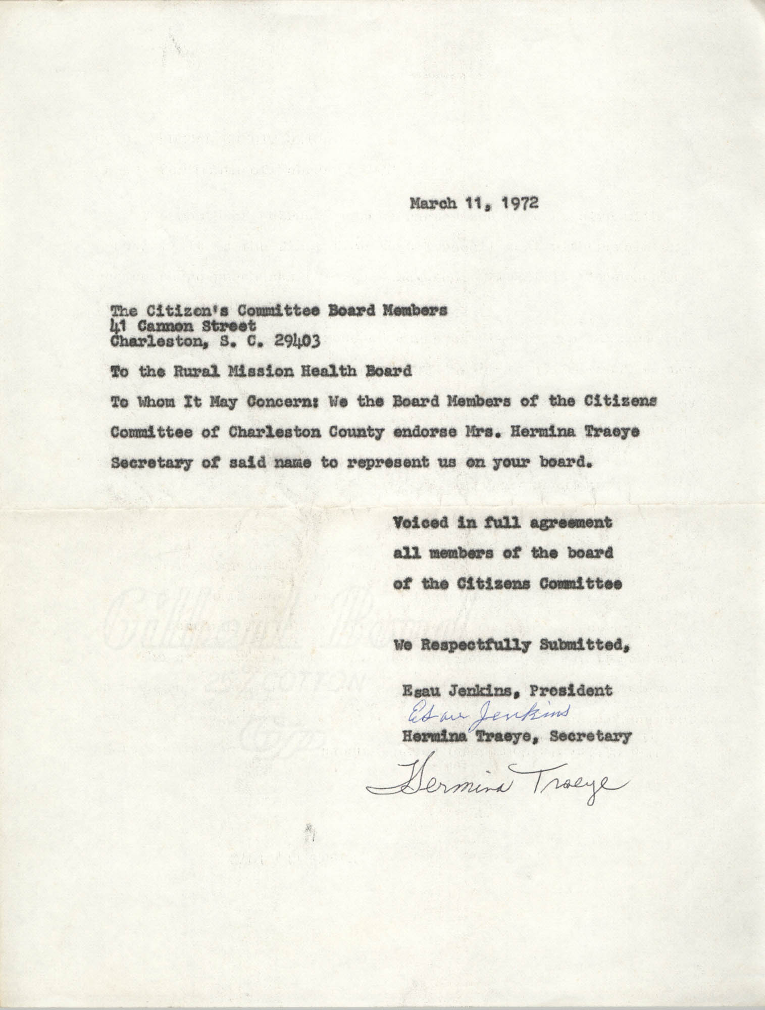 Letter from Esau Jenkins and Hermina Traeye to Rural Mission Health Board, March 11, 1972