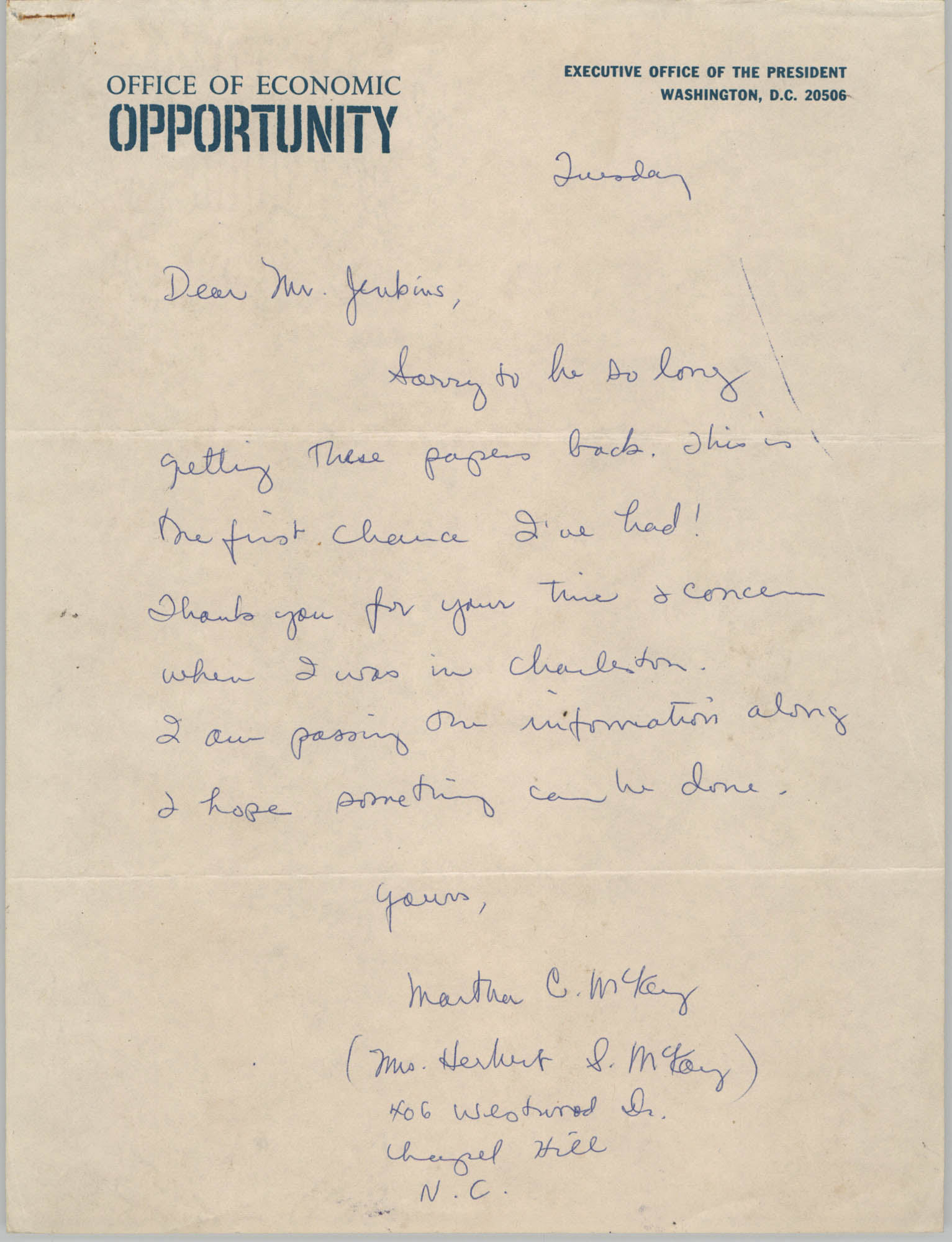 Letter from Martha C. McKey to Esau Jenkins