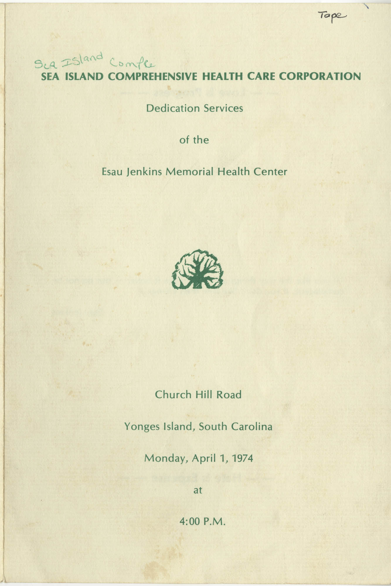 Dedication Services of the Esau Jenkins Memorial Health Center