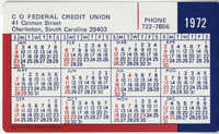 C O Federal Credit Union Calendar and Monthly Payment Schedule Card