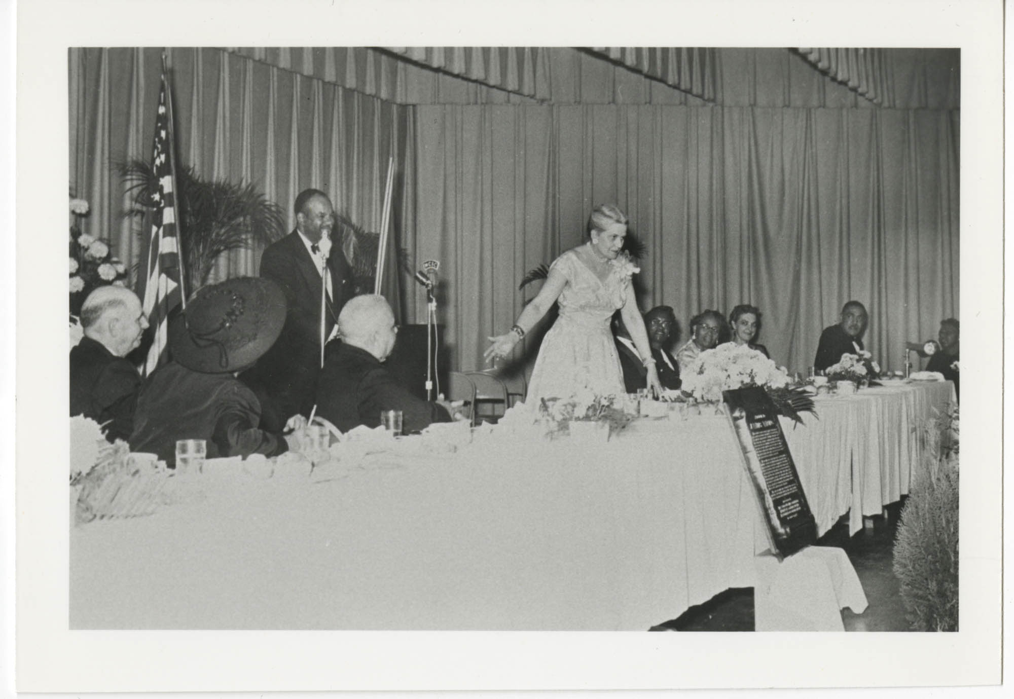 Unidentified Woman Speaking at Dinner Ceremony