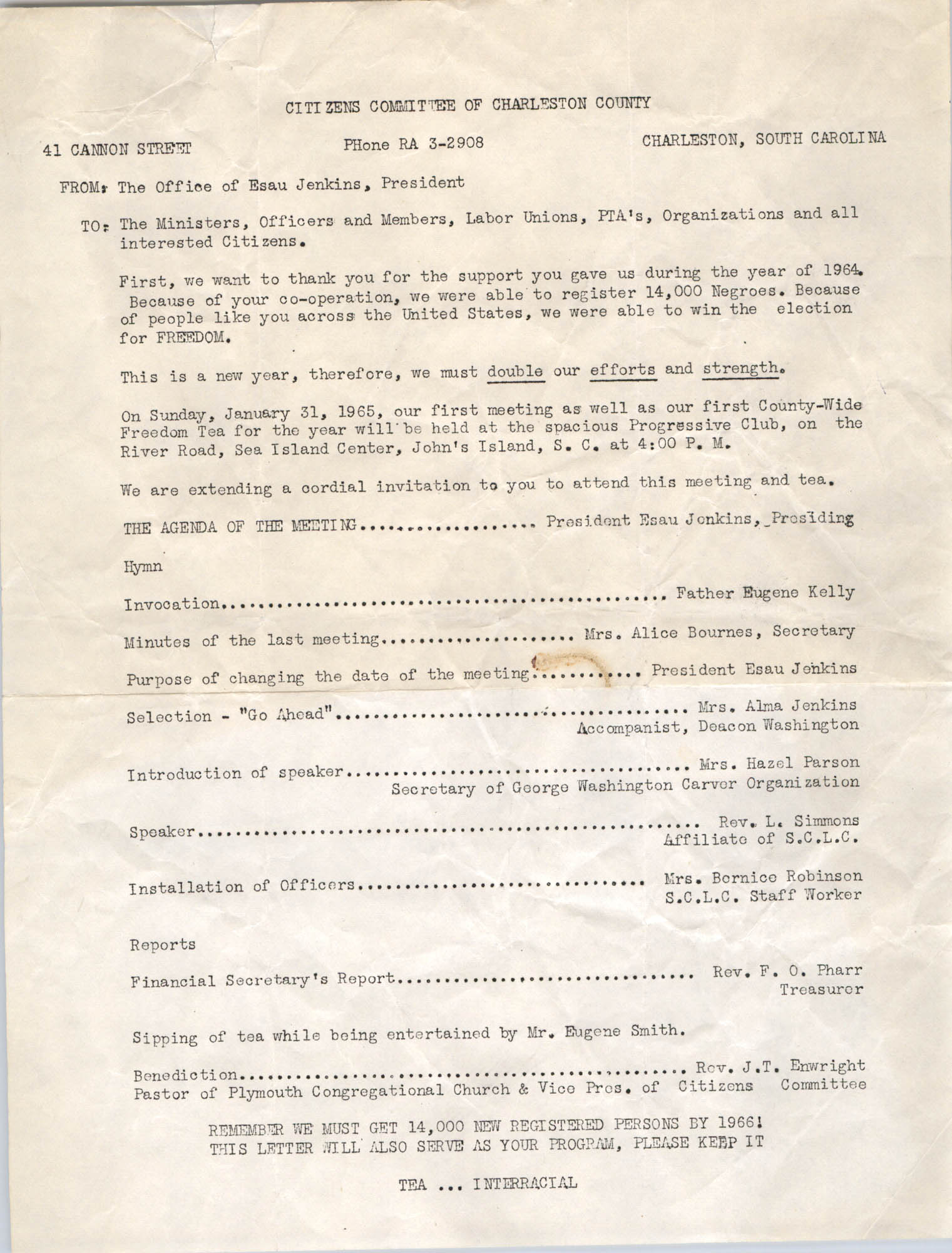 Memorandum from Esau Jenkins to Citizens of Charleston, 1965