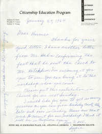 Letter from Septima P. Clark to Bernice Robinson, January 29, 1964