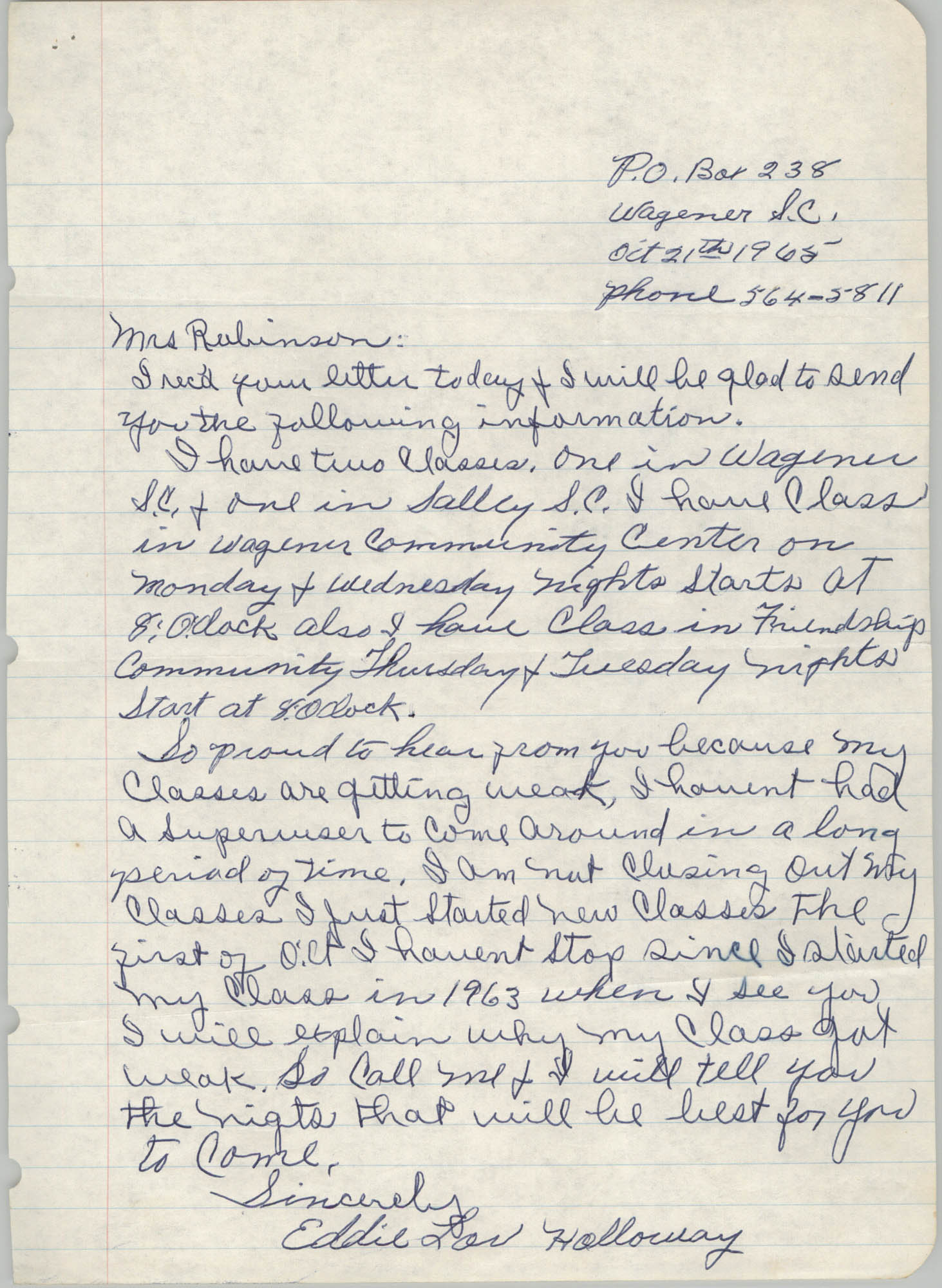 Letter from Eddie Holloway to Bernice Robinson, October 21, 1965
