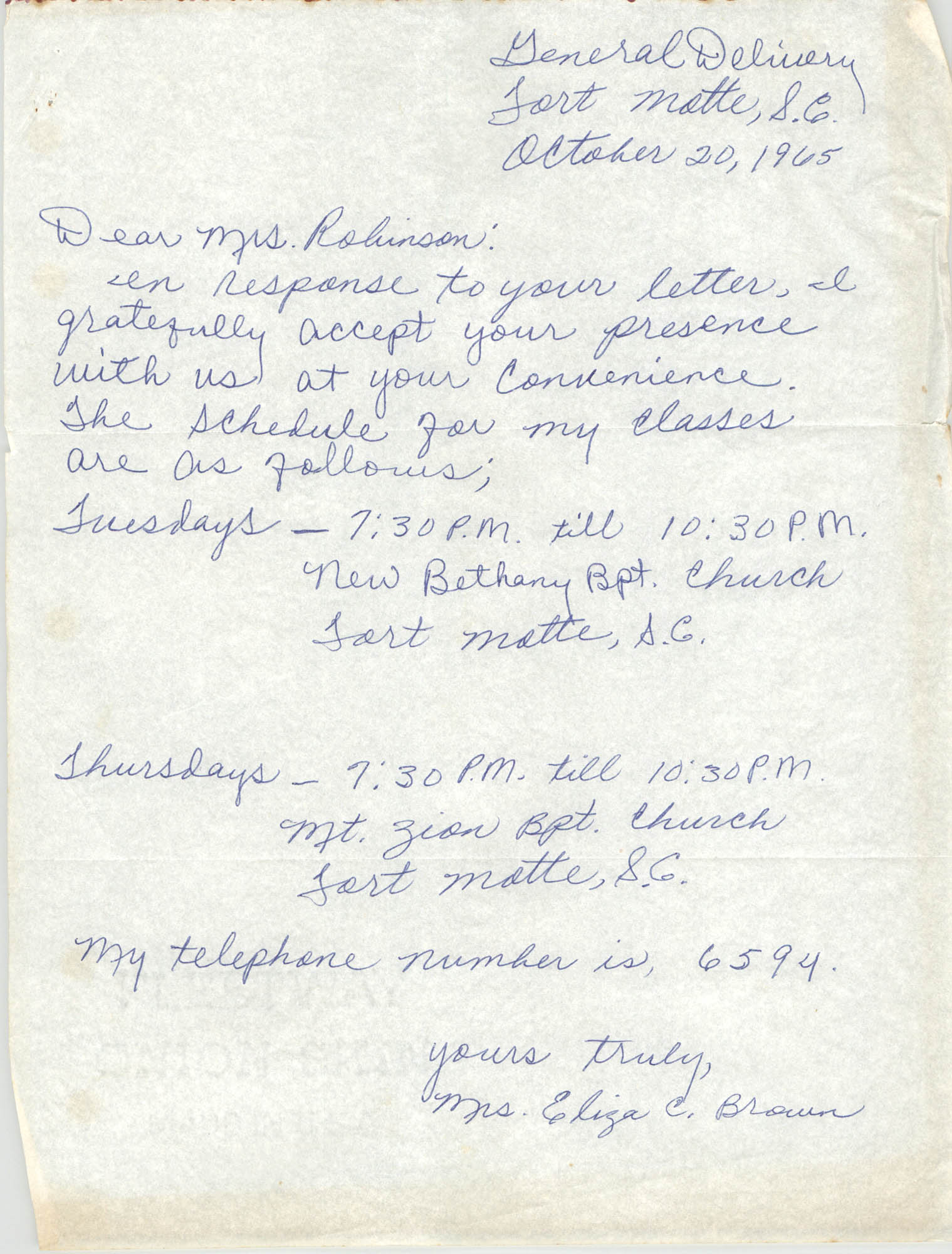 Letter from Eliza C. Brown to Bernice Robinson, October 20, 1965