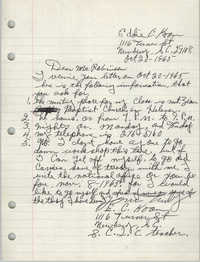 Letter from Eddie C. Koon to Bernice Robinson, October 20, 1965