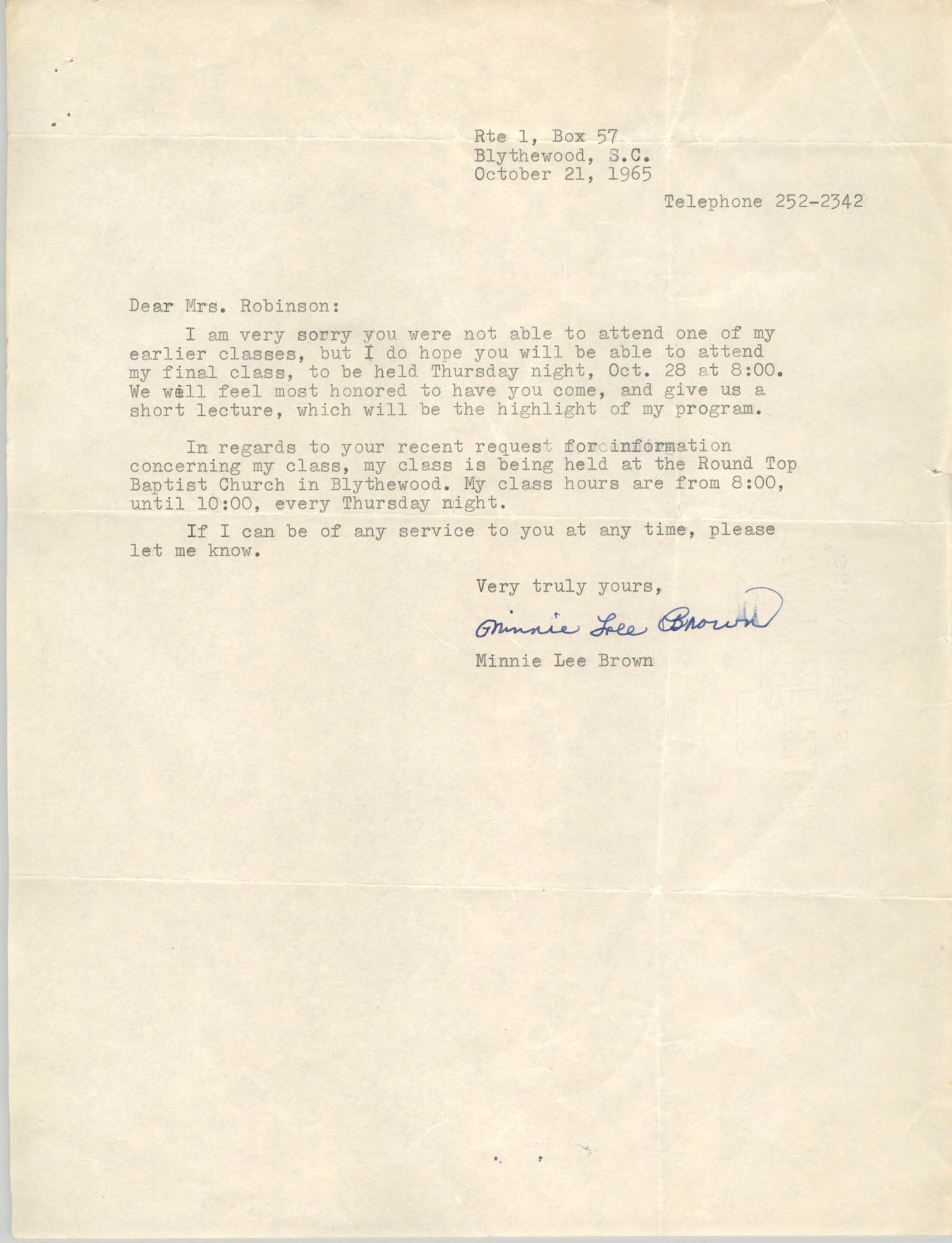 Letter from Minnie Lee Brown to Bernice Robinson, October 21, 1965