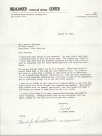 Letter from C. Conrad Browne to Bernice Robinson, August 16, 1965