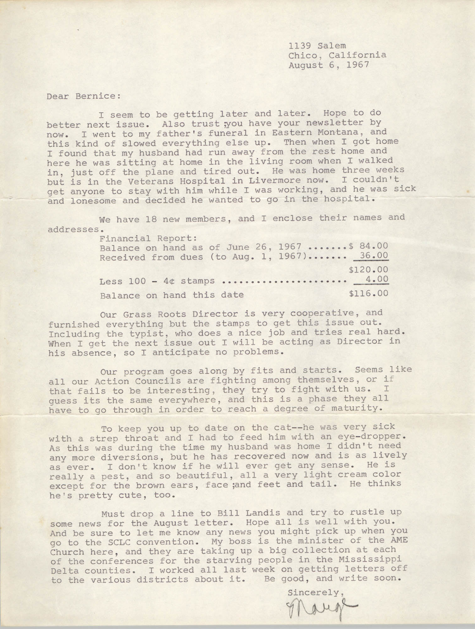 Letter from Margery Ames to Bernice Robinson, August 6, 1967