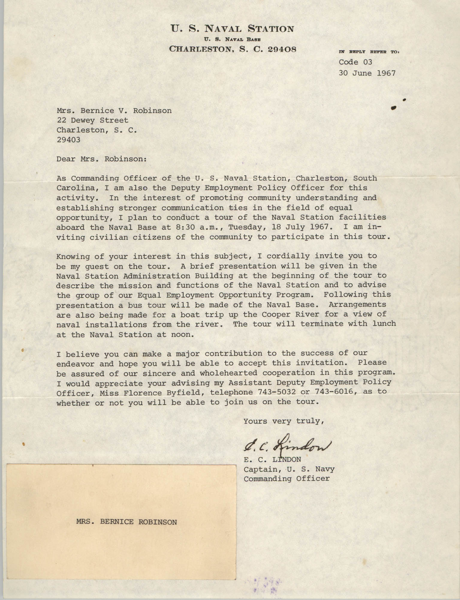 Letter from E. C. Lindon to Bernice V. Robinson, June 30, 1967