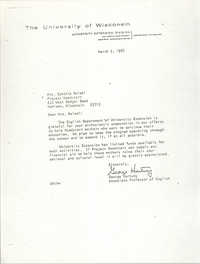 Letter from George Hartung to Cynthia Maisel, March 2, 1967