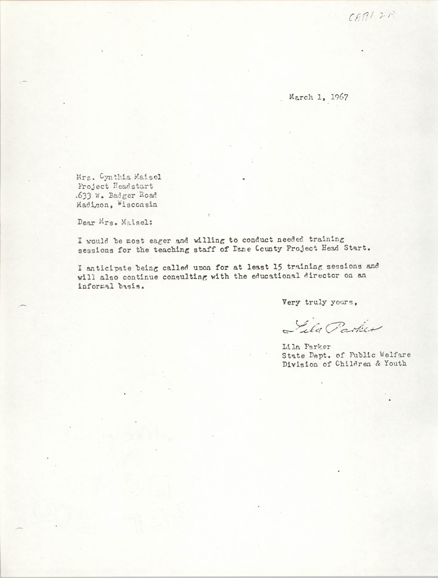 Letter from Lila Parker to Cynthia Maisel, March 1, 1967