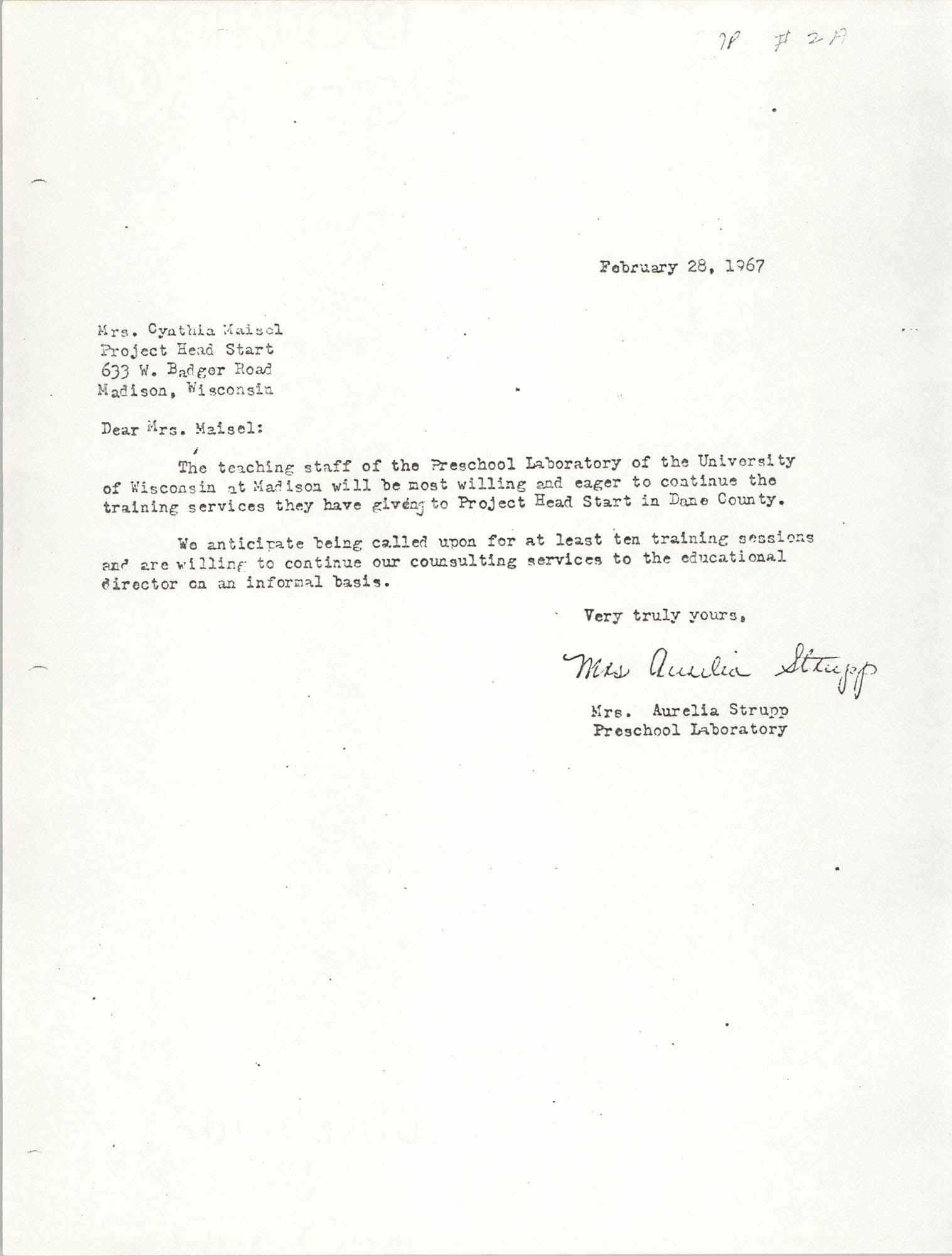 Letter from Aurelia Strupp to Cynthia Maisel, February 28, 1967