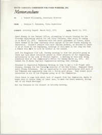Memorandum from Bernice V. Robinson to Robert Williamson, March 15, 1971