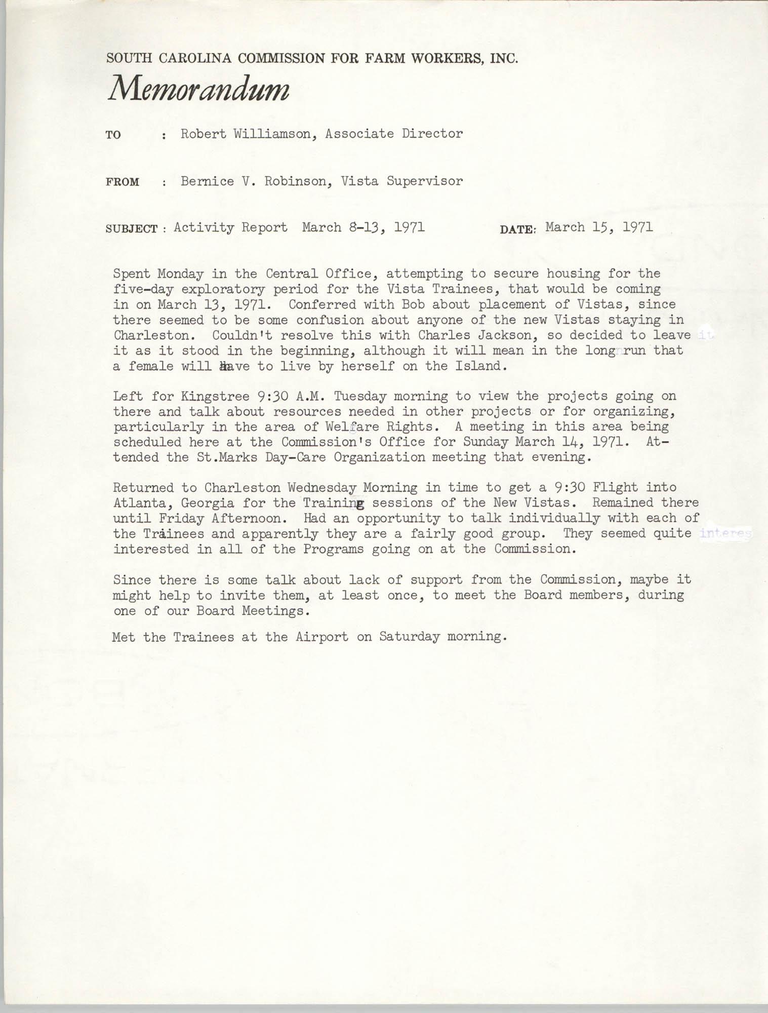 Memorandum from Bernice V. Robinson to Robert Williamson, March 15, 1971