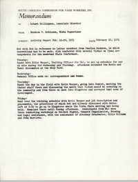 Memorandum from Bernice V. Robinson to Robert Williamson, February 29, 1971