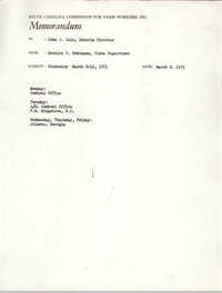 Memorandum from Bernice V. Robinson to John Cole, March 8, 1971