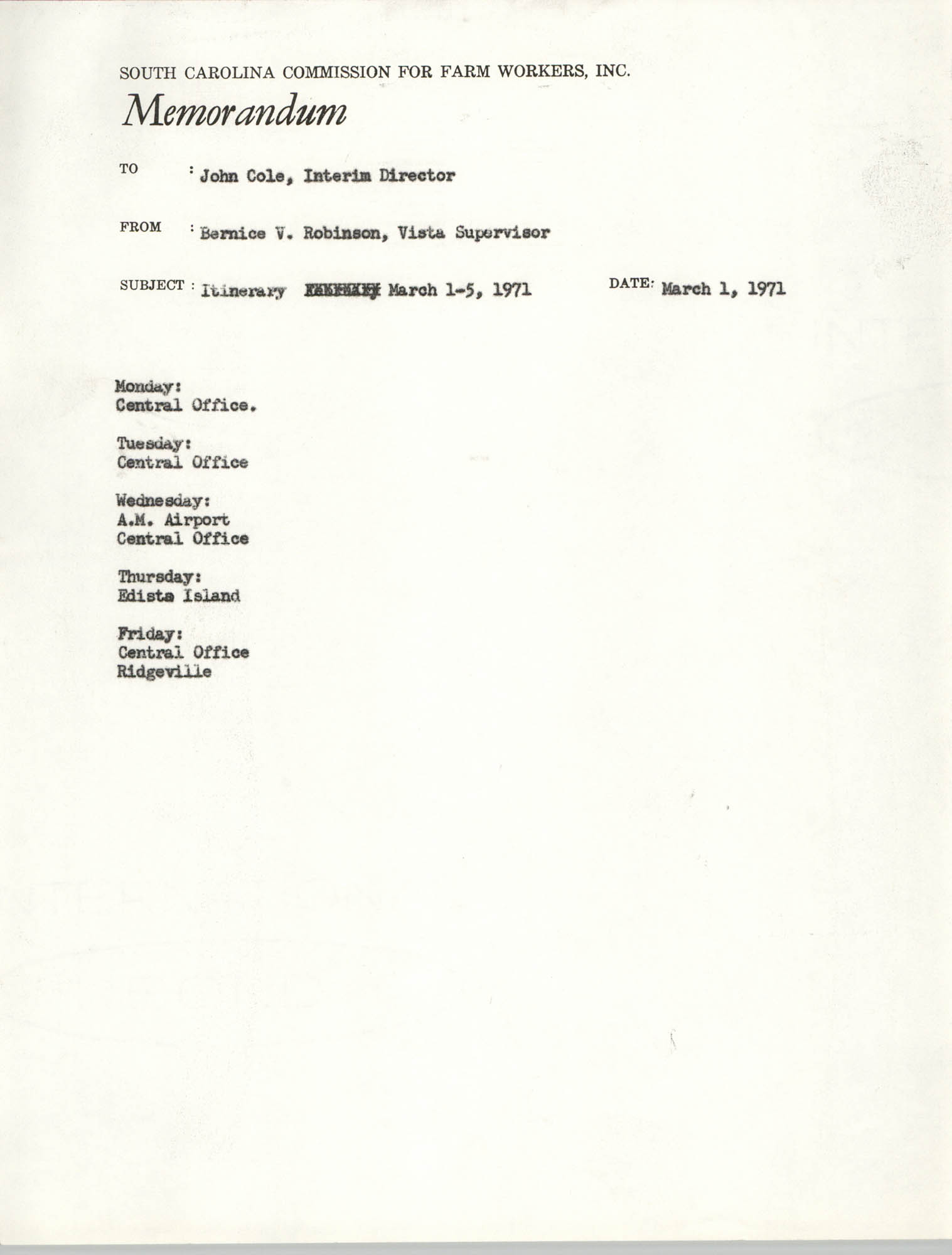 Memorandum from Bernice V. Robinson to John Cole, March 1, 1971