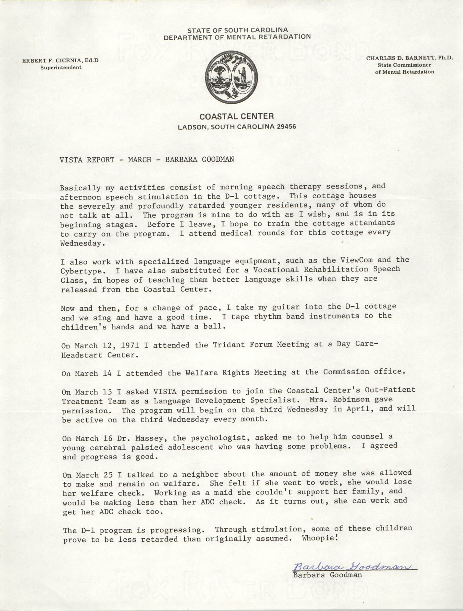 VISTA Report, March 1971