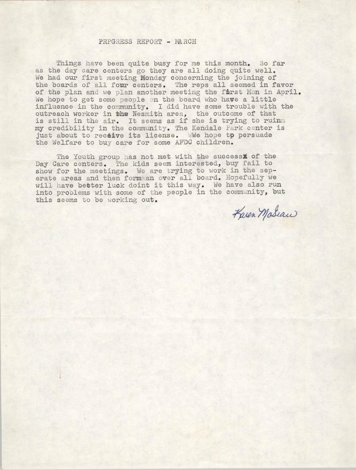 VISTA Progress Report, March 1971