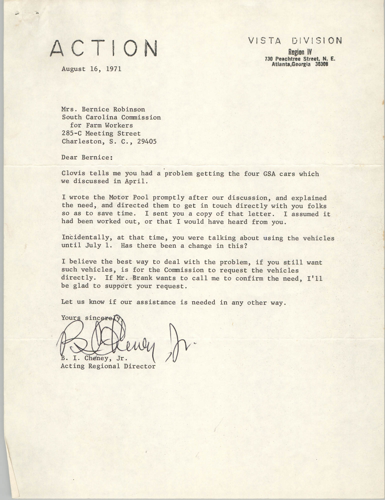 Letter from B. I. Cheney, Jr. to Bernice Robinson, August 16, 1971