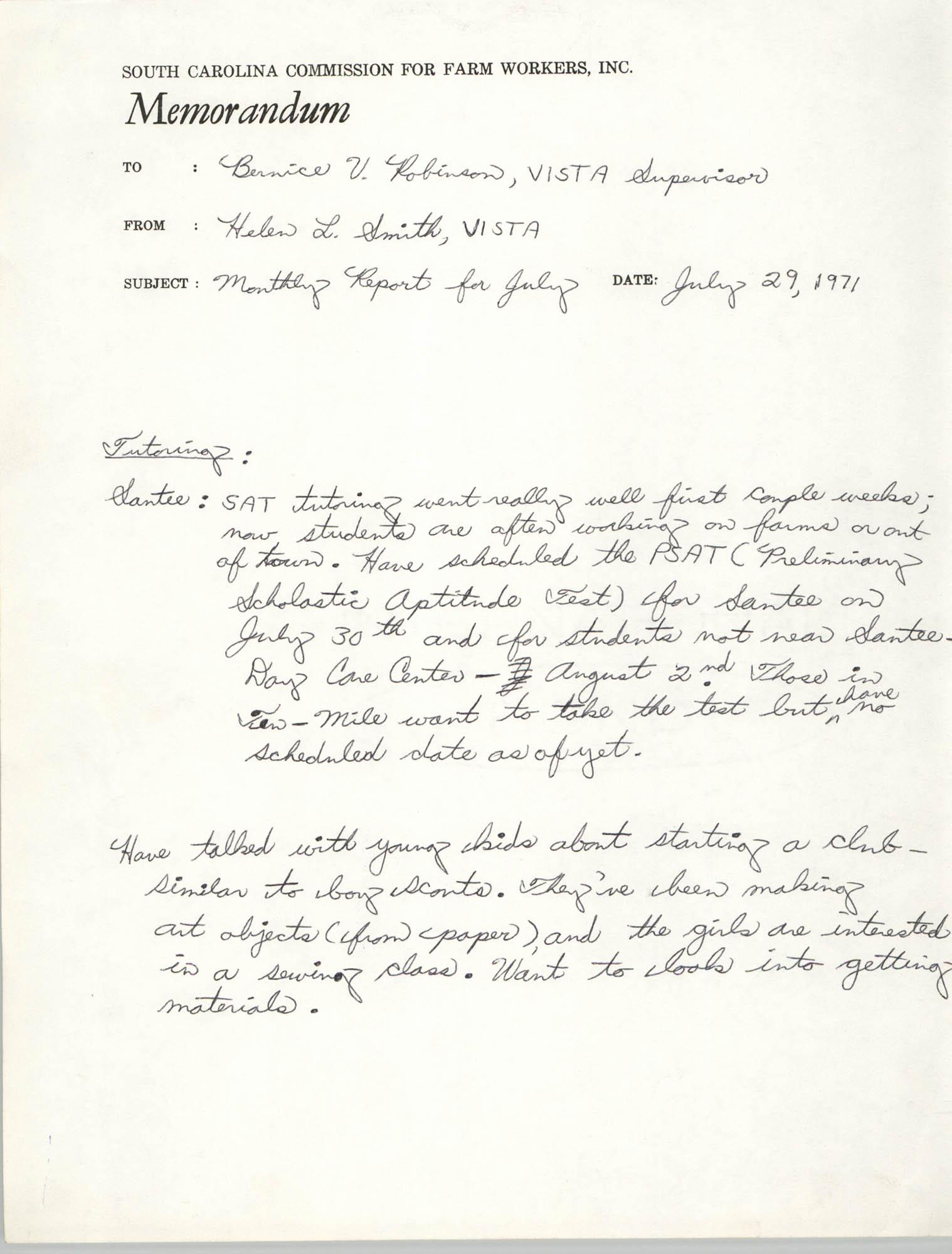 Memorandum from Helen L. Smith to Bernice Robinson, July 1971