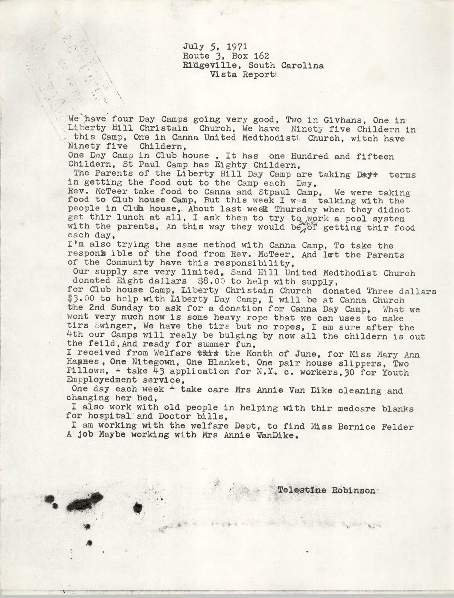 VISTA Monthly Report, June 1971