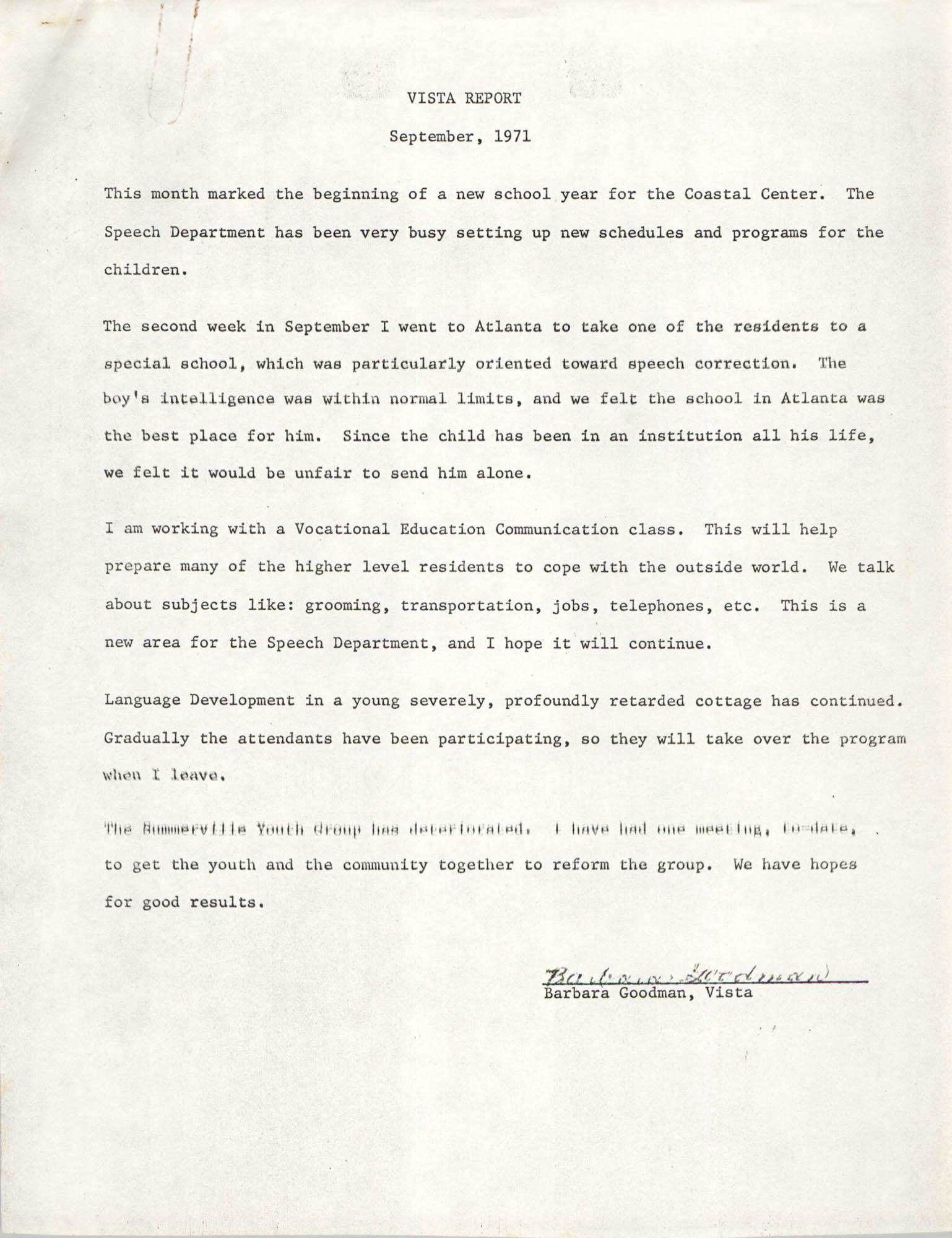 VISTA Monthly Report, September 1971