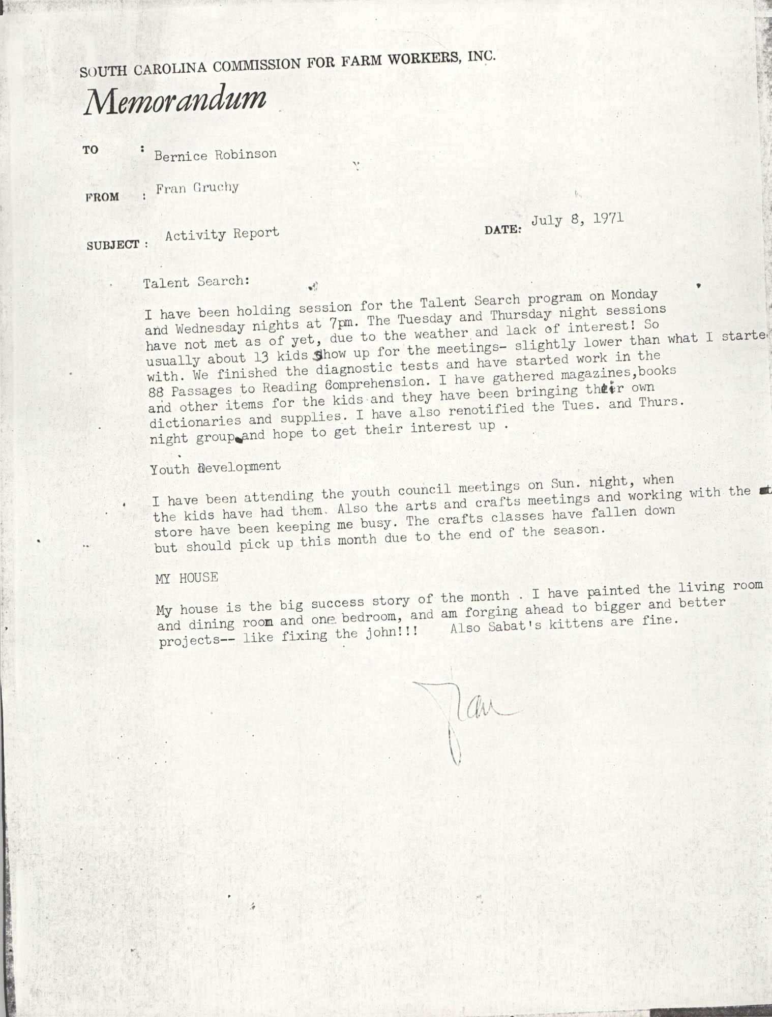 VISTA Activity Report, July 1971