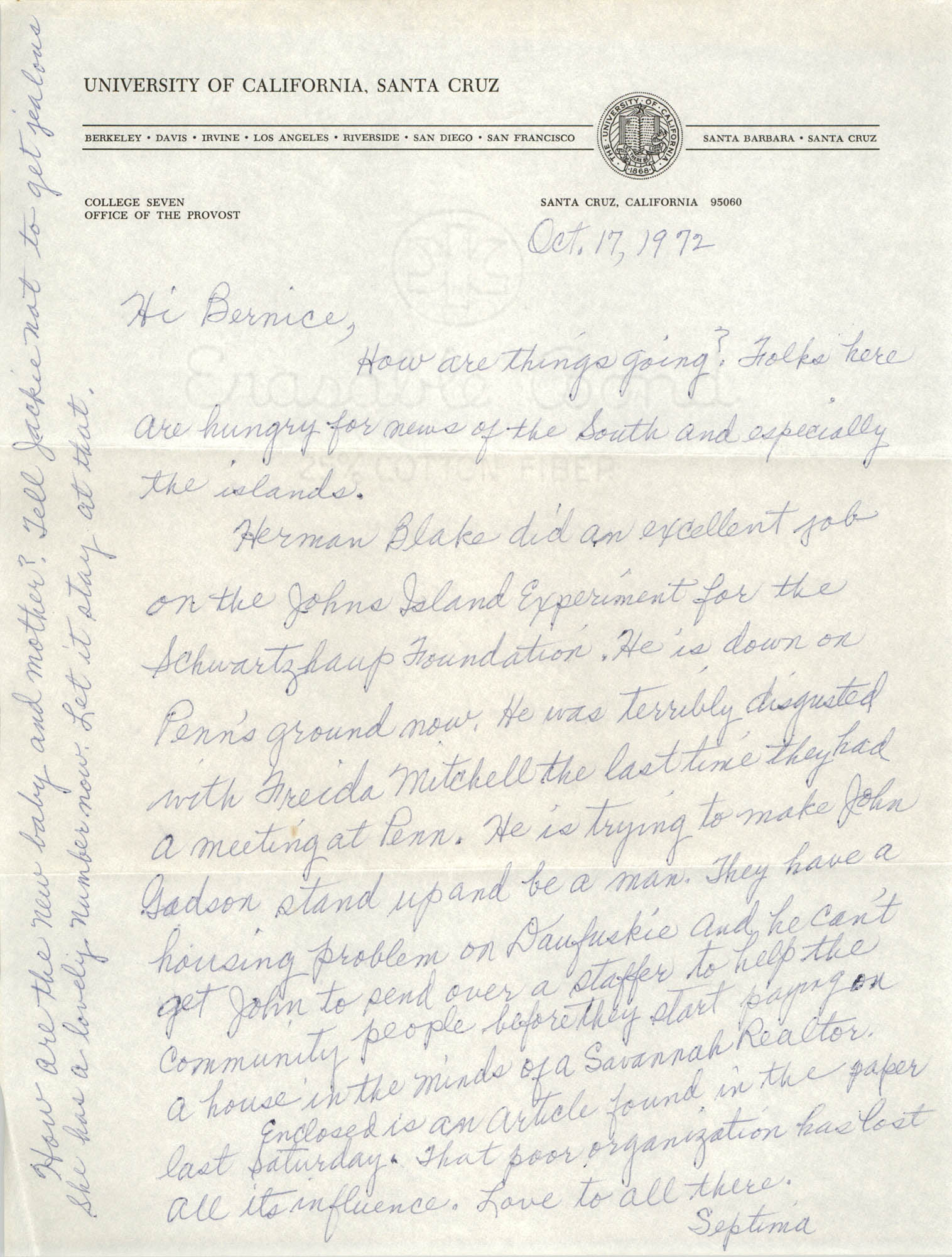 Letter from Septima P. Clark to Bernice Robinson, October 17, 1972