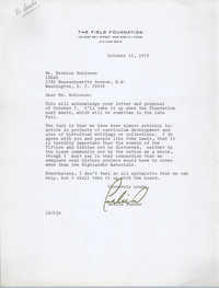 Letter from Leslie Dunbar to Bernice Robinson, October 12, 1972