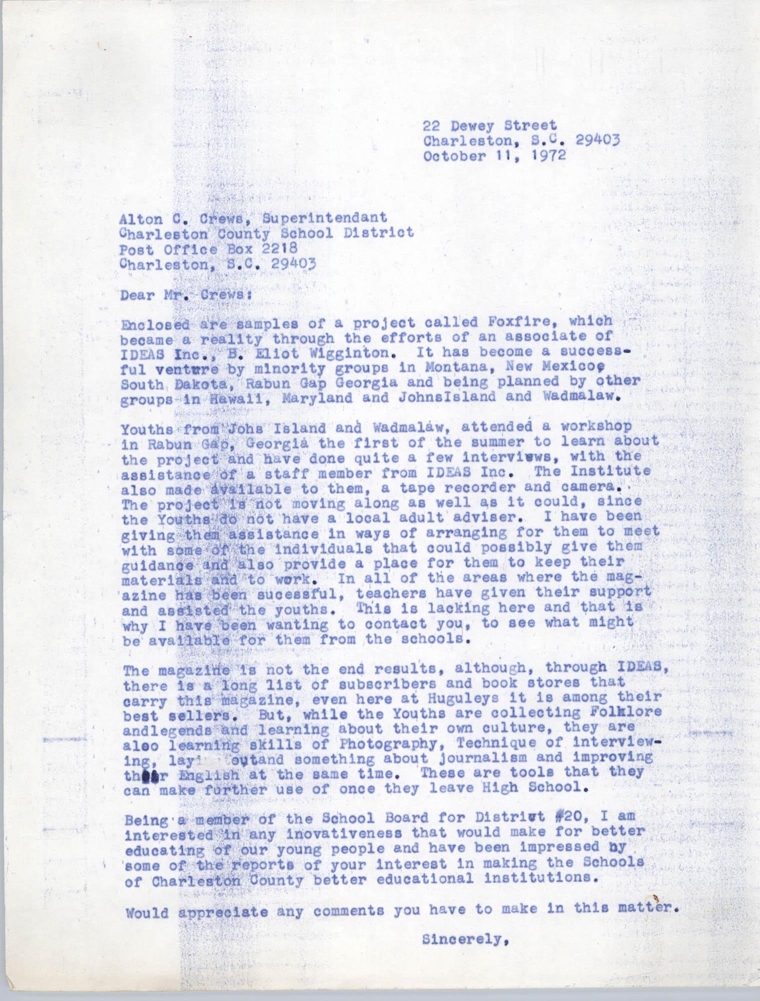 Letter from Bernice Robinson to Leslie Dunbar, October 11, 1972