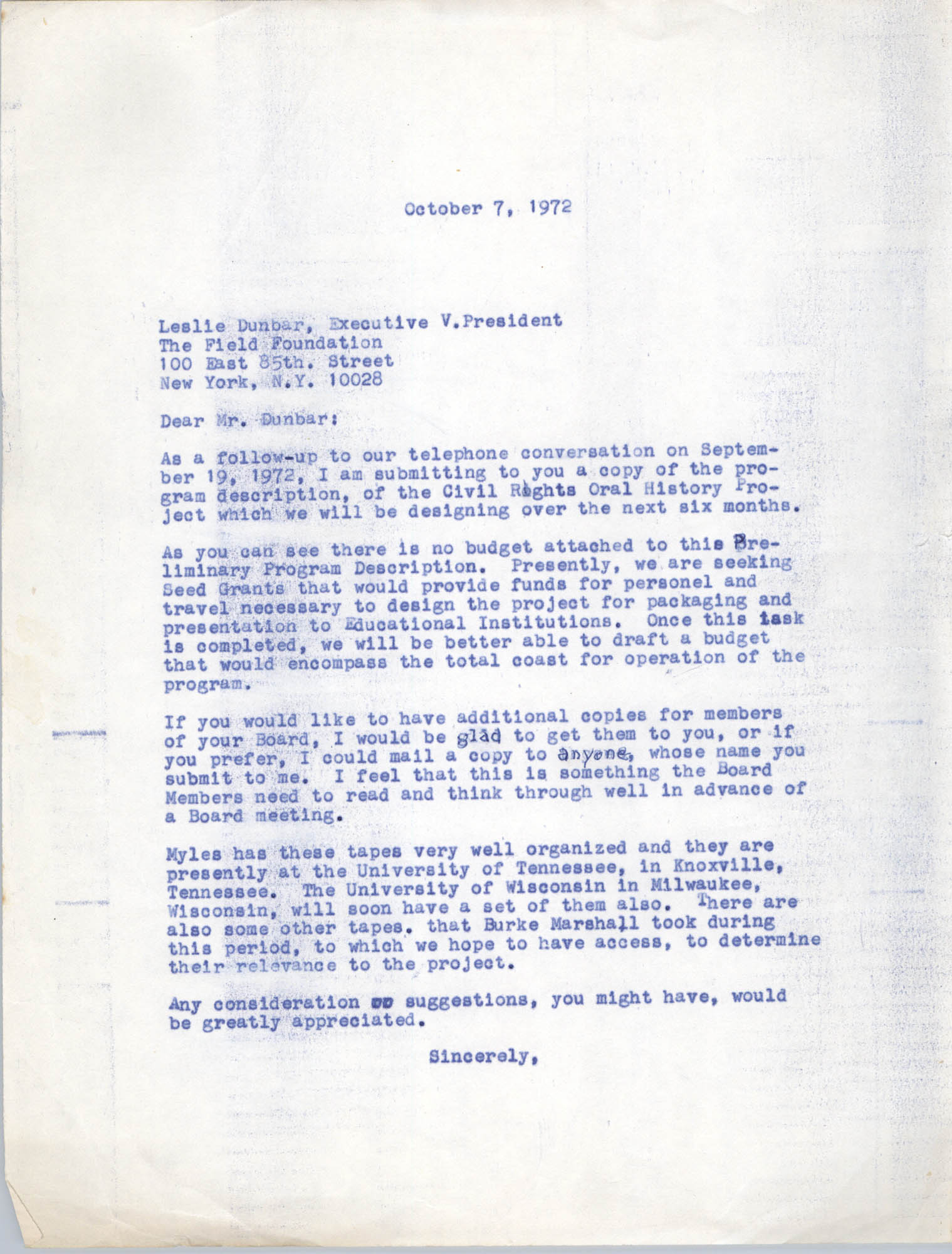 Letter from Bernice Robinson to Leslie Dunbar, October 7, 1972