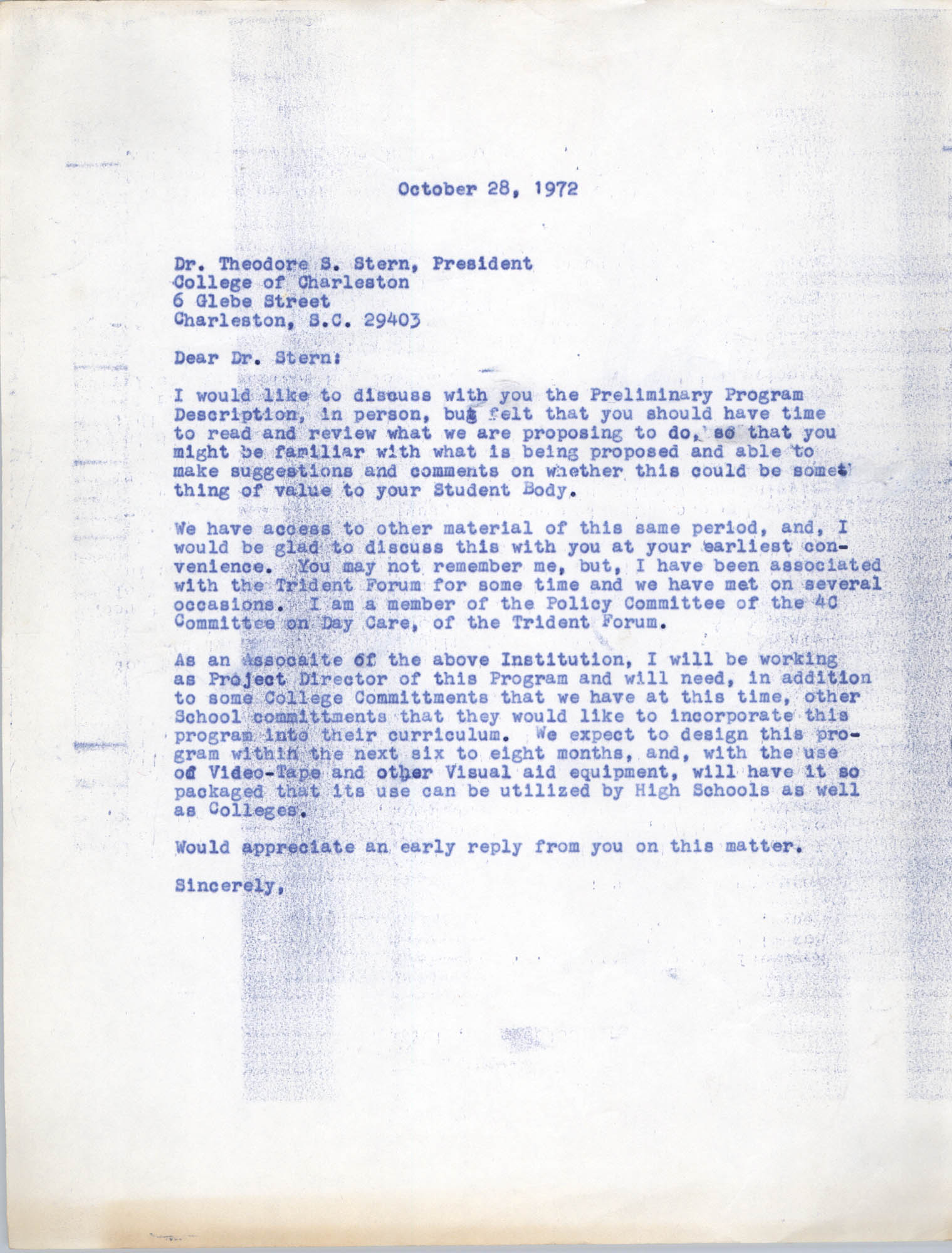 Letter from Bernice Robinson to Theodore S. Stern, October 28, 1972
