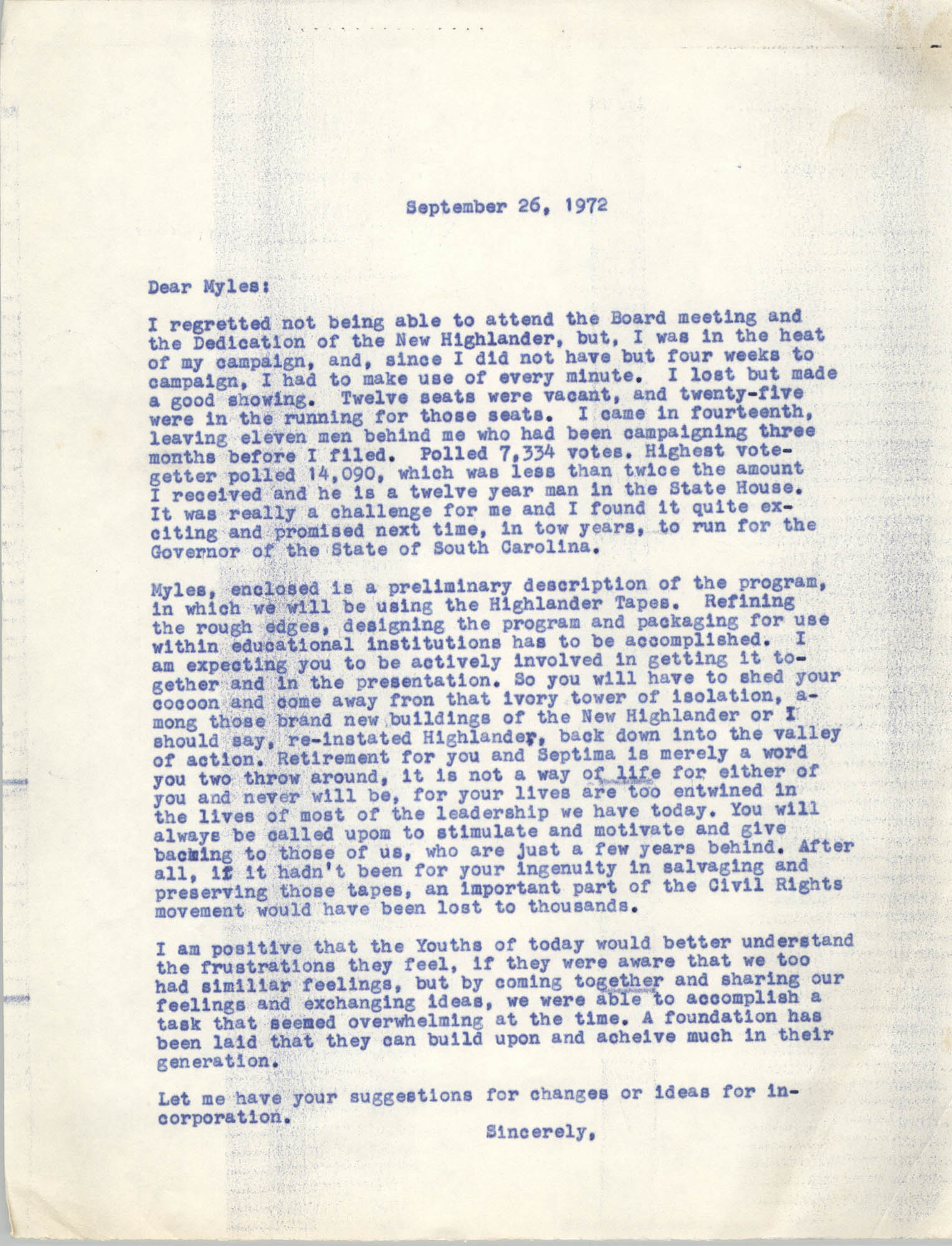 Letter from Bernice Robinson to Myles Horton, September 26, 1972