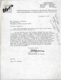 Letter from Alton C. Crews to Bernice Robinson, October 25, 1972