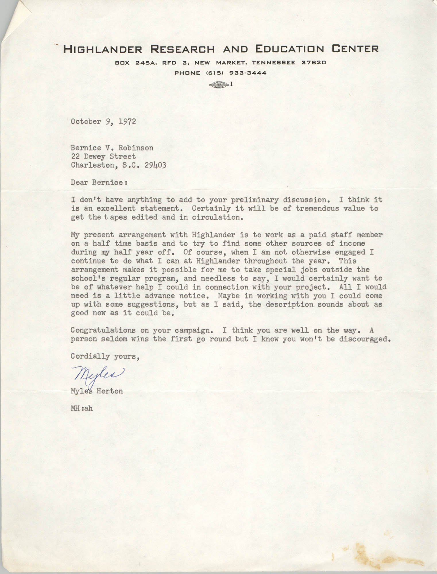 Letter from Myles Horton to Bernice Robinson, October 9, 1972