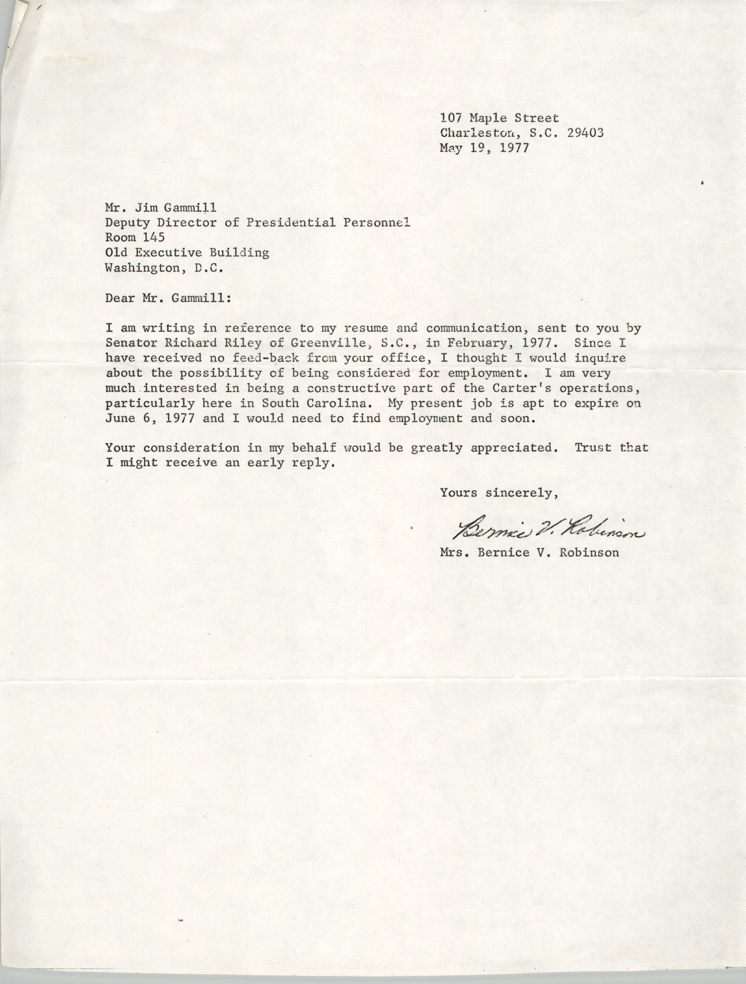 Letter from Bernice V. Robinson to Jim Gammill, May 19, 1977