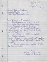 Letter from Bernice Robinson to Charles D. Ravenel, November 21, 1978