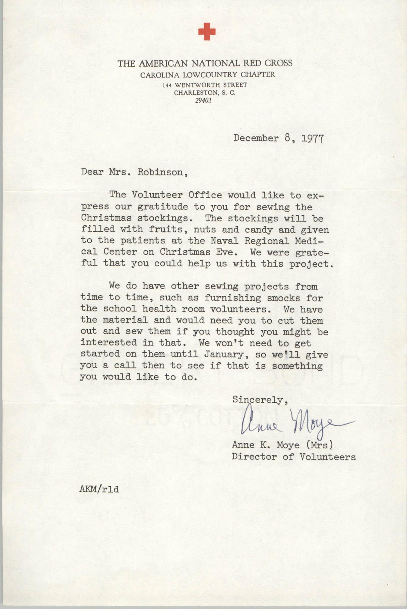 Letter from Anne K. Moye to Bernice Robinson, December 8, 1977