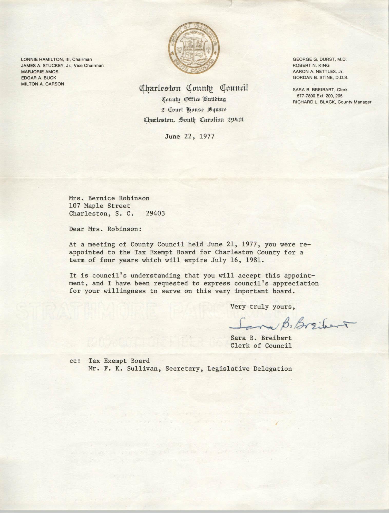 Letter from Sara B. Breibart to Bernice Robinson, June 22, 1977