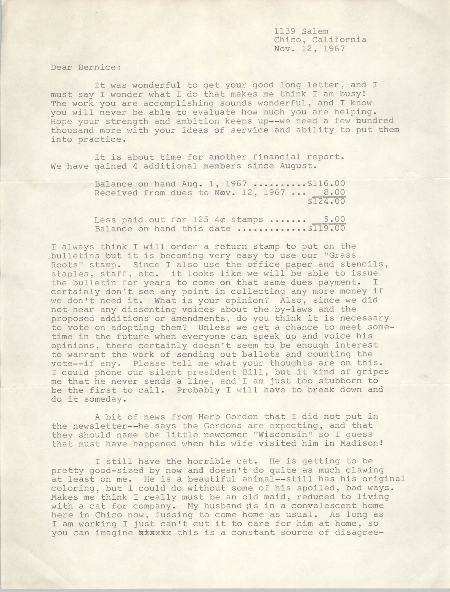 Letter from Margery Ames to Bernice Robinson, November 12, 1967