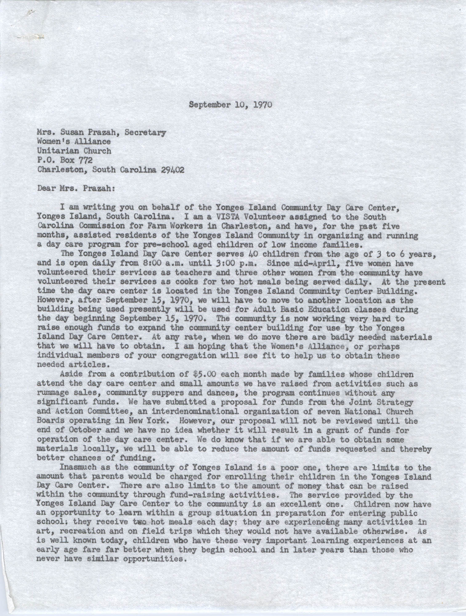 Letter from Karney Platt to Susan Prazah, September 10, 1970