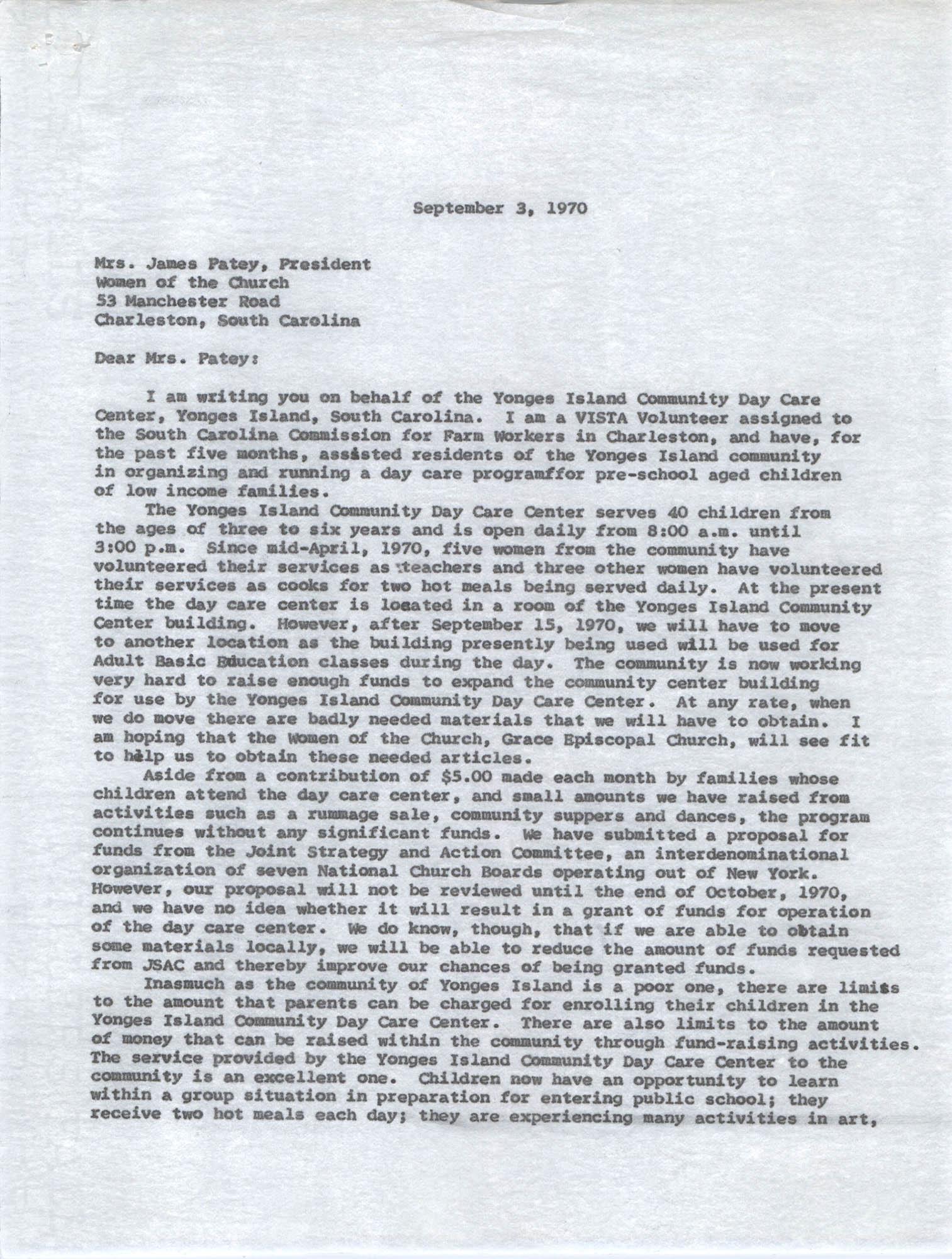 Letter from Karney Platt to James Patey, September 3, 1970