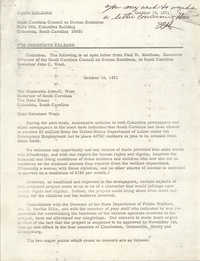 South Carolina Council on Human Relations Press Release, October 18, 1971